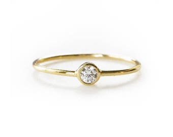 Gold CZ Solitaire Ring | Thin Gold Ring with CZ | Delicate Gold Ring