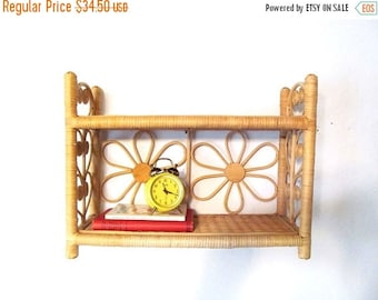 On Sale Vintage Natural Wicker and Wood Decorator Shelves, Boho, Flowers, Hearts, Scrolls