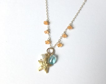 Beachy Necklace, Gold Fill, Carnelian, Apatite, Freshwater Pearl, Starfish, Hawaiian Necklace, Simply Sparkle Designs (Style 5221)