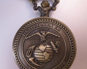 XMAS SALE Vintage US Marine Corps Military Pocket Watch & Chain Necklace Costume Jewelry Jewellery
