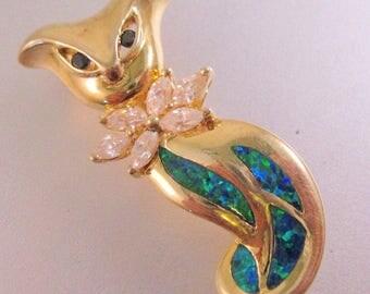 Vintage Opal White Topaz Sapphire Sterling Vermeil Brooch Pin Signed Fine Jewelry Jewellery
