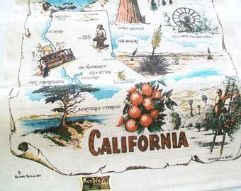California Linen Towel, UNUSED, label, Kay Dee Handprints