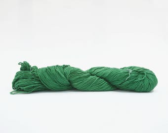 Green Silk Sock Weight Yarn, Recycled Silk Fair Trade Yarn