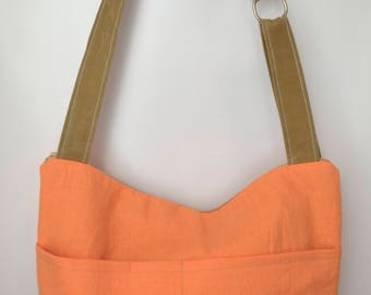 Linen Tote - Our Demi bag, now in Orange mango Linen & Waxed Canvas by Darby Mack and made in the USA