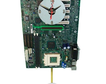 Motherboard Pendulum Wall Clock has Unusual and Colorful Components. Unique Office or Lobby Art.