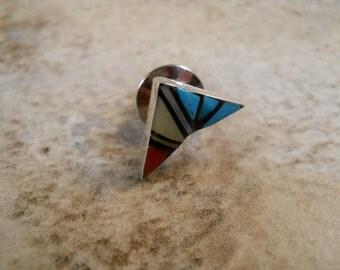 Zuni Style Sterling Silver Tie Tack Inlay