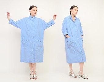 Vintage 60s Blue Model's Coat - Long Sleeve Collared Snap Front Tent Dress - 1960s Cotton House Coat - Neiman Marcus