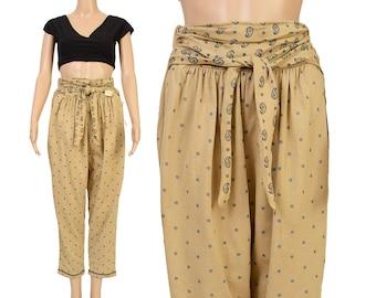 Vintage 80s Pants - Tan Paisley Pants - Floral Print Pants - Tie Waist Jogger Pants High Waisted 1980s Harem Pants Deadstock NOS - Medium M