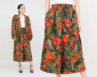 Vintage 90s Tropical Floral Print Two Piece Set | High Waist Culottes | Wide Leg Gauchos Pants 2 pc | Oversize Bomber Jacket | Medium M