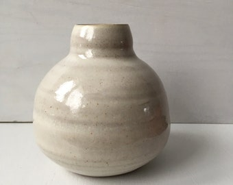 wheel thrown handmade white bud vase