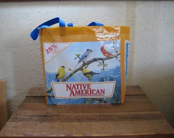 Upcycled Recycled Reusable Large Bird Food Tote Bag Purse