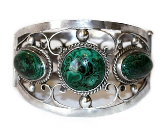 Vintage Sterling and Malachite Hinged Bangle, c.1940's
