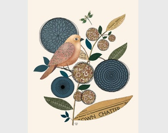 "Bird Art Collage, Botanical Art Print, ""Little Folk Bird No. 10"""