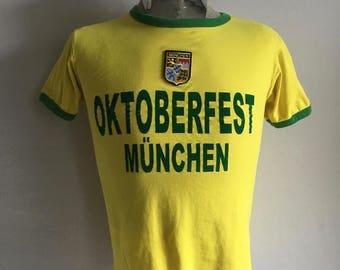 Vintage Men's 80's Octoberfest, T Shirt, Yellow, Cotton, Short Sleeve (S)