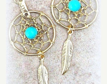 EPIC SALE Sun and Sky l - Gold & Turquoise dream catcher earrings - Sun and Sky