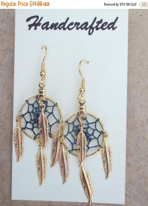 ON SALE DRAGONFLY Dream Catcher earrings with gold feathers, Four winds, Dreamcatcher earrings, blue & green dreamcatcher earrings in gold