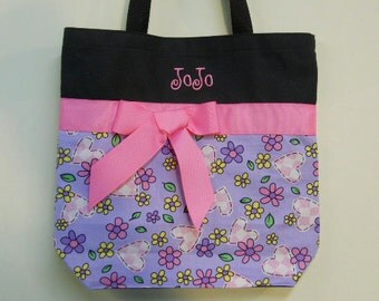 Tote bag,  Dance bag, Ballet bag, Personalized tote bag, Black tote bag, Embroidered Bag with flower Fabric Tote Bag TB585 CH