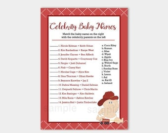 Baby Fireman Firefighter Boy Baby Shower Celebrity Baby Names Baby Shower Game Card, Printable PDF INSTANT DOWNLOAD bs-102