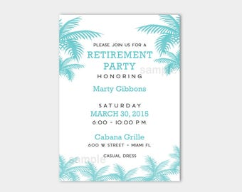 Palm Tree Tropical Teal and White Retirement Invitations | Customized Printed or Printable File