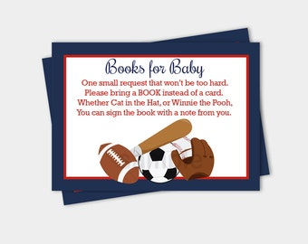 Sports Navy/Red Baby Shower Book Request Enclosure Cards INSTANT DOWNLOAD bs-019