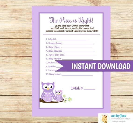 price is right baby shower game pdf