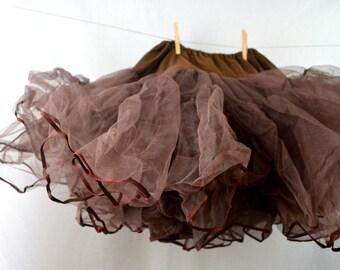 Distressed Vintage Brown Tulle Crinoline Petticoat Tutu