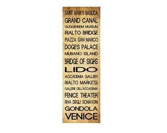 "Venice Bus Roll - Subway Sign  - Bus Scroll - Poster Print - Vintage Sepia - 12"" x 36"""