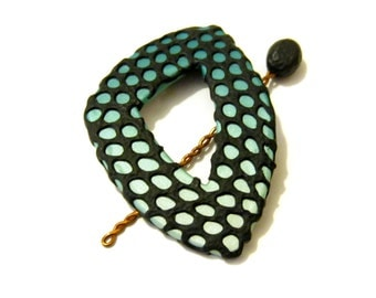 Teal and Black Shawl Pin - Edgy Triangle Brooch - Black Textured Overlay - Teal Blue to Pearl Gradient - Knitting Accessory -  Sweater Clasp