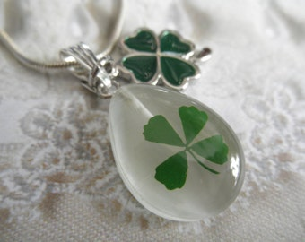 Real 4 Leaf Clover White Cat's Eye Teardrop Pendant w/4 Leaf Clover Enamel Charm-Nature's Art-Rare Find-Symbolizes Love, Luck, Hope, Faith