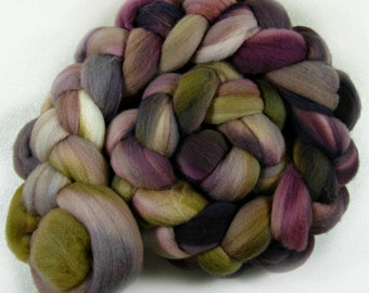 Plum Golden 1 merino wool top for spinning and felting (4.2 ounces)