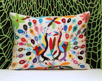 Multi colored  Folk Art Pillow Sham-Otomi Embroidery Ready to ship.