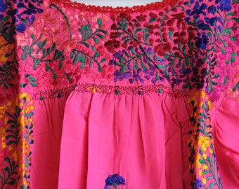 Multi colored on pink  Mexican Wedding Dress