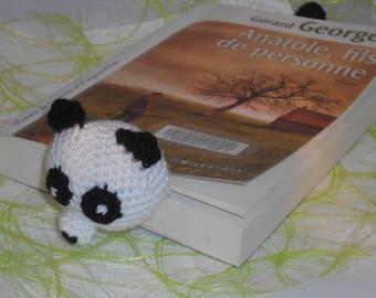 Marque pages panda de bibliothèque au crochet déco livre amigurumi