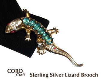 Coro Craft Lizard Brooch. Sterling Silver with Gold Wash. USA 1940s. Salamander or Gecko Pin. Vintage Sterling Brooch.