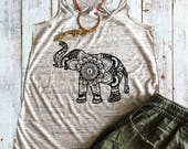 Sweet Mandala Elephant Flowy Tank Top