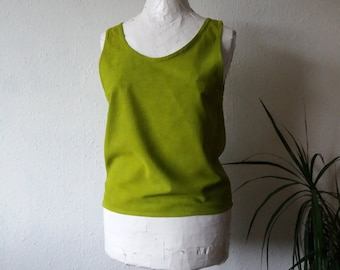 Organic silk blouse moss green tank vest naturally dyed eco friendly sustainable boho minimalist fashion top womens luxury garments cami