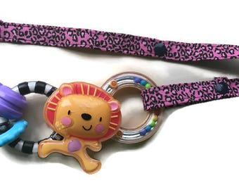 Toy Leash, Sippy Cup Strap, Pacifier Saver -- Animal Print on Pink
