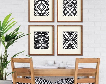 Navajo Indian inspired Geometric Patterns (Series A4) Set of 4 Art Prints (Featured in Distressed Black on White) Modern Tribal Art