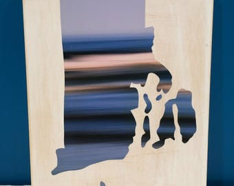 Rhode Island Map, Ocean State, Waves Photography, Seascape, RI, 8x10, Seascape, Wall Art