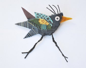 Betty The Blue Bird Brooch, Recycled Fabric, Woodland, Forest, Whimsical, Repurposed, Pin