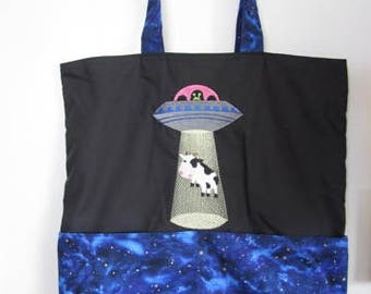 Cow Alien Abduction Resuable Bag, Tote Bag, Shopping Bag, Purse