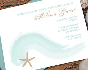 Beach Ocean Wave Bridal Shower Invitation, Engagement Party, Rehearsal Dinner - FREE SHIPPING - Printed or DIY Printable