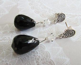 Sterling Silver Swarovski Crystal Black Teardrop Earrings on Etsy by APURPLEPALM