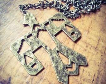 Bronze Thunderbird Pendant Necklace, Native American Pendant Necklace, Southwestern Charm Pendant, Tribal Pendant, Long layering pendant