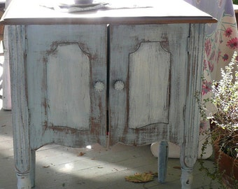 Vintage Retro Cottage /Record Cabinet Poppy Cottage PAINT to ORDER MCM Accent Side Table Custom Painted Furniture