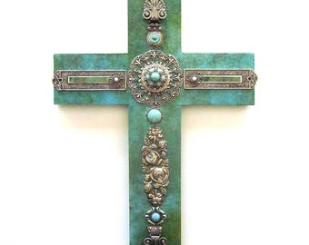 Religious Assemblage Handmade Cross Turquoise Paper Metal