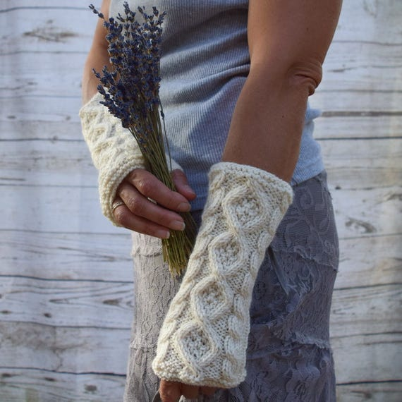 Knit arm warmers cream ivory aran cables and diamonds knit fingerless gloves gift for her womens gloves rustic wedding Irish ladies gloves