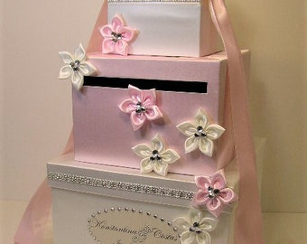 Wedding  Card Box Ivory and Light pink Gift Card Box Money Box Holder-Customize your color