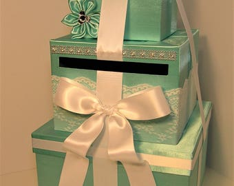 Wedding Card Box White and Mint Green Gift Card Box Money Box Holder--Customize your color