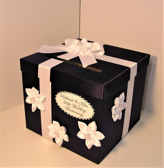 Wedding Card Box Purple and White Gift Card Box Money Box Holder--Customize your color (10x10x9)-Custom Made